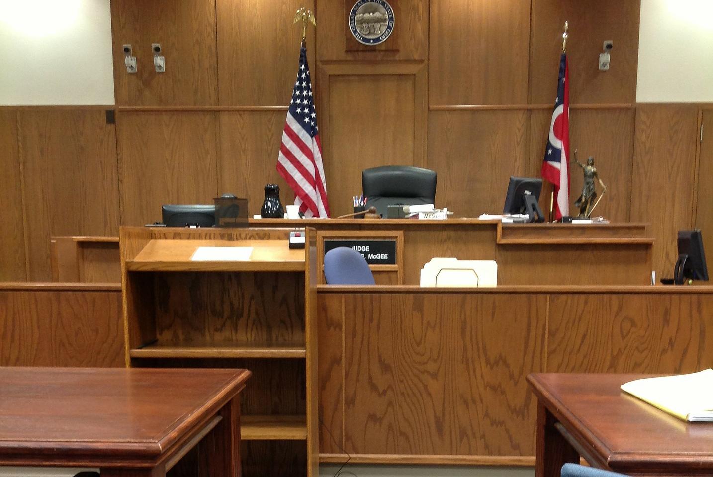 empty wood paneled court room
